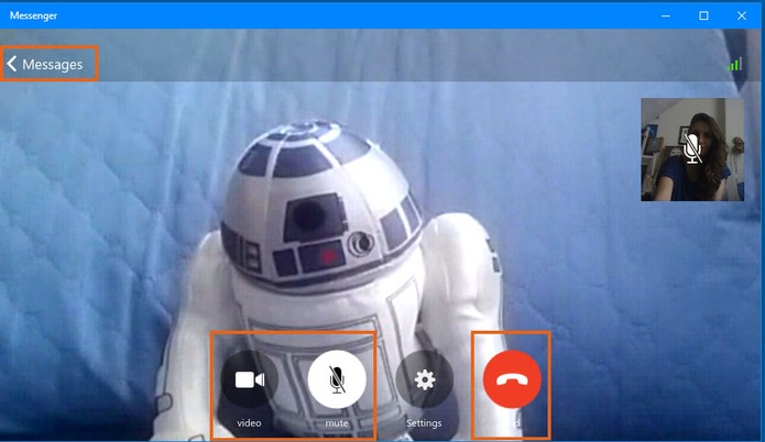 Controle a exibição da sua webcam, microfone ou encerre a chamada (Foto: Reprodução/Barbara Mannara)