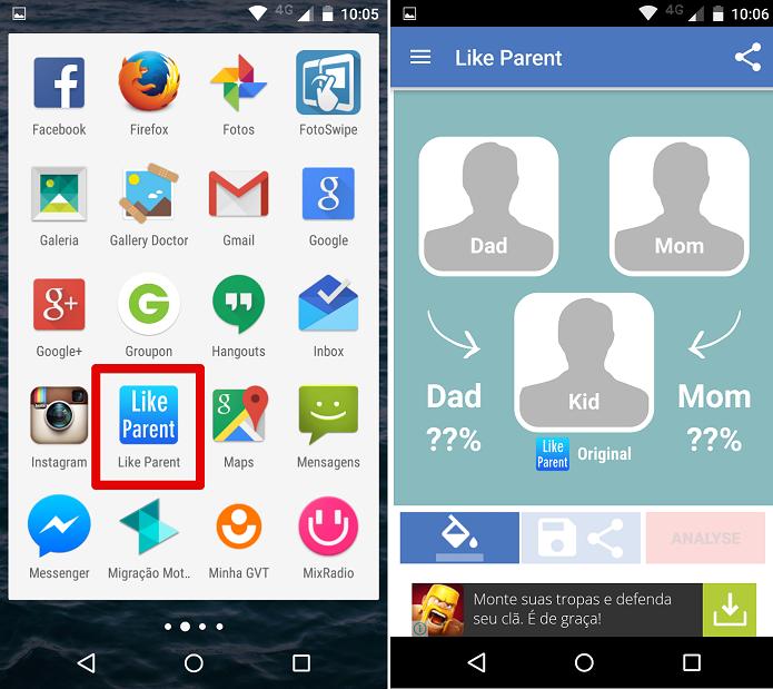 Abrindo o aplicativo Like Parent (Foto: Felipe Alencar/TechTudo)