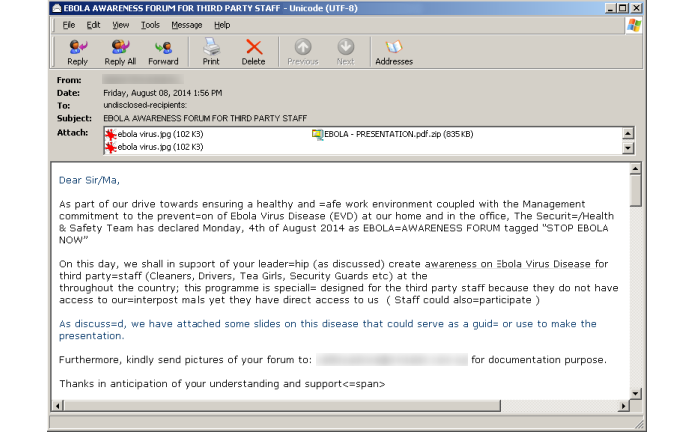 Anexos prometem informações sobre ebola mas instalam malware (foto: Divulgação/Symantec)