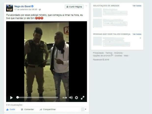 Nego do Borel postou vídeo em sua página (Foto: Reprodução/Facebook)