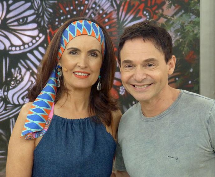 Fátima com o parceiro, o dr. Jairo Bouer (Foto: Vinícius Cunha/Gshow)