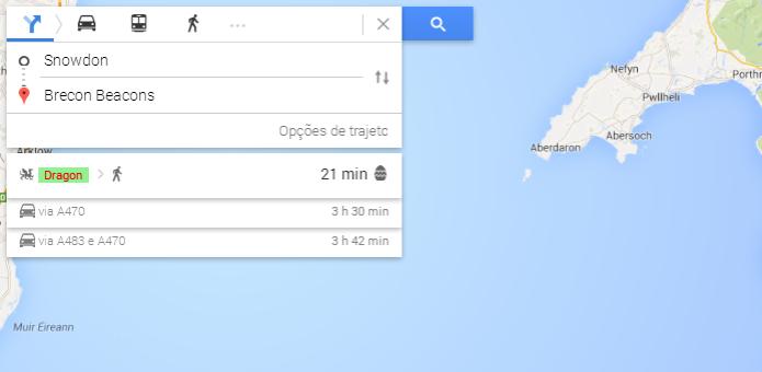 Maps mostra trajeto de dragão para determinada busca (Foto: Reprodução/Thiago Barros) (Foto: Maps mostra trajeto de dragão para determinada busca (Foto: Reprodução/Thiago Barros))