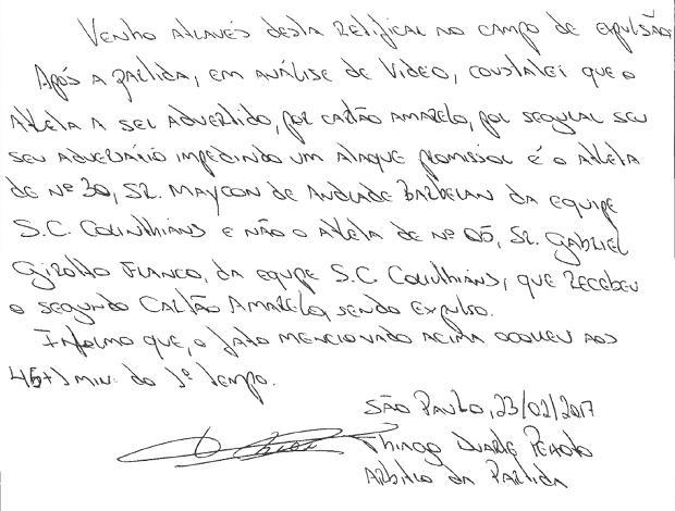 Árbitro corrige súmula de Corinthians x Palmeiras