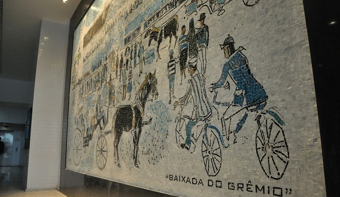 Painel retrata a Baixada, primeira estádio do Grêmio (Foto: Rodrigo Fatturi/Grêmio)
