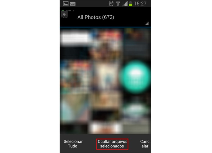 06 Escolha as imagens que quiser esconder e selecione o botão marcado em vermelho (Foto: Reprodução/Paulo Alves)