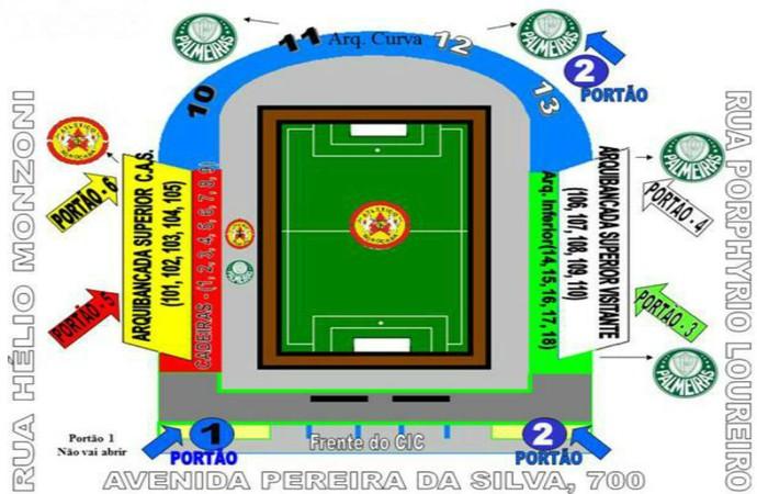 Mapa do estádio Walter Ribeiro CIC, para Atlético Sorocaba x Palmeiras (Foto: Divulgação / CA Sorocaba)