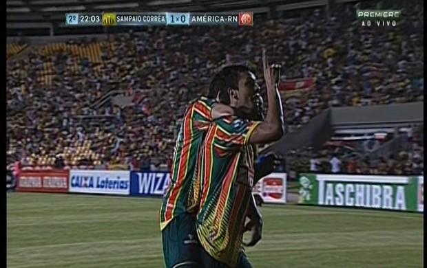 Eloir comemora gol do Sampaio contra América-RN (Foto: Reprodução/Premiere FC)