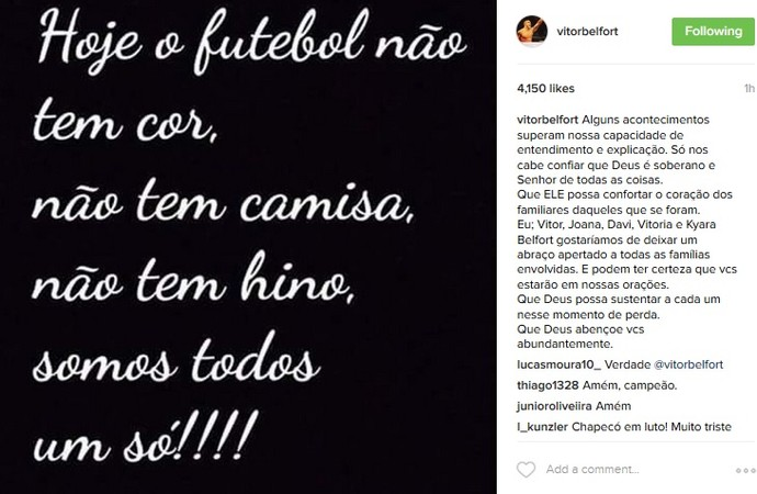 Vitor Belfort Chapecoense (Foto: reprodução/Instagram)