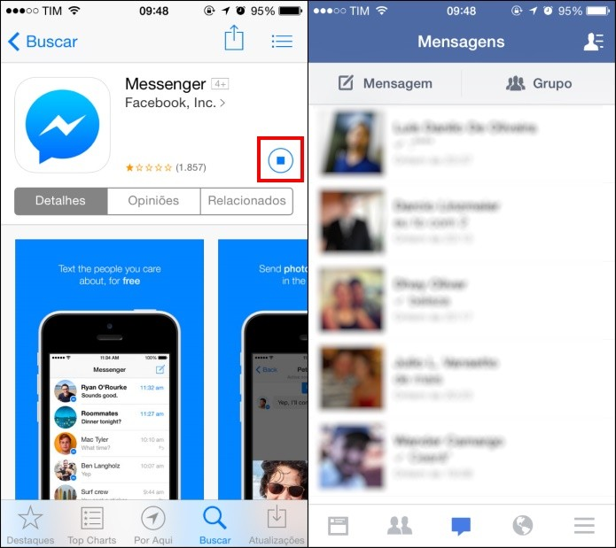 Comece a instalar o app e pare logo em seguida (Foto: Reprodução/Helito Bijora)
