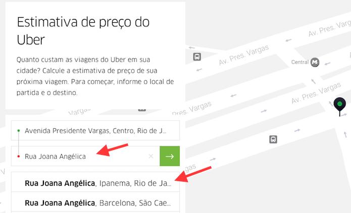 Opção para definir o endereço de destino de uma corrida no site de estimativa de preço do Uber (Foto: Reprodução/Marvin Costa)