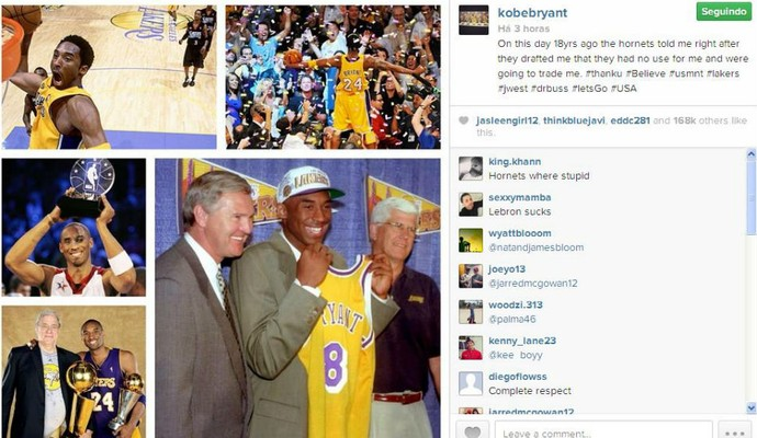 Kobe Bryant provoca Charlotte no Instagram (Foto: Reprodução/Instagram)