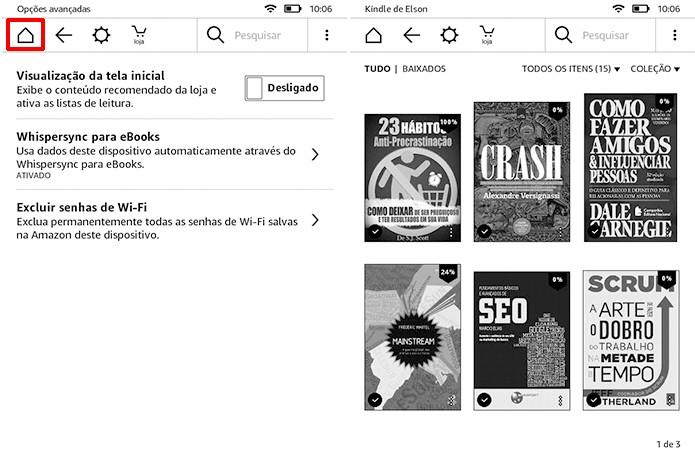 Kindle passa a mostrar a biblioteca no lugar da tela inicial com propagandas (Foto: Reprodução/Elson de Souza)
