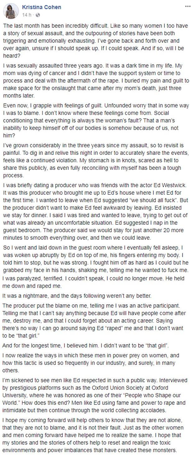 Depoimento de Kristina Cohen no Facebook (Foto: Reprodução/Facebook)