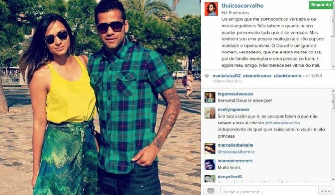 Thaíssa Carvalho elogia Daniel Alves, apesar do término do relacionamento (Foto: Reprodução/Instagram)
