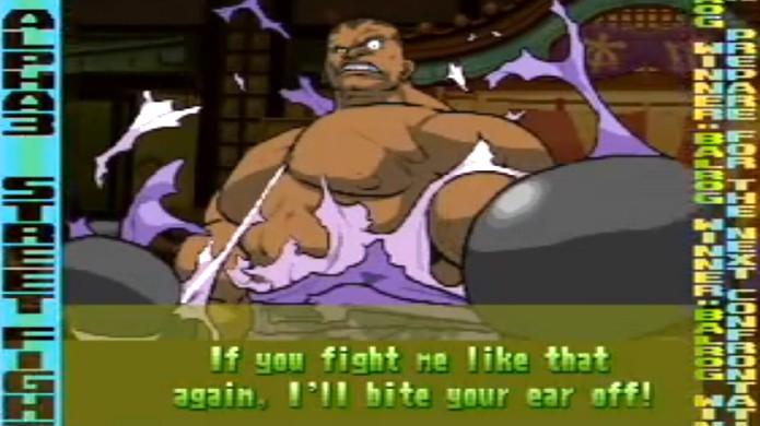 Em Street Fighter Alpha 3, Balrog ameaça morder a orelha dos adversários (Foto: Reprodução/YouTube)