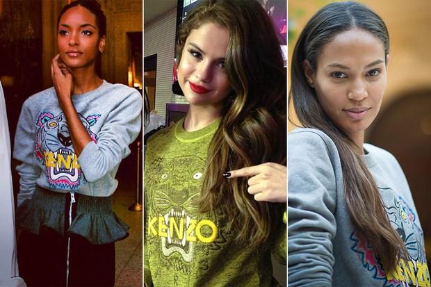 MODA - Kenzo sweatshirts - Jourdan Dunn, Selena Gomez e Joan Smalls (Foto: Instagram / Twitter / Getty Images)