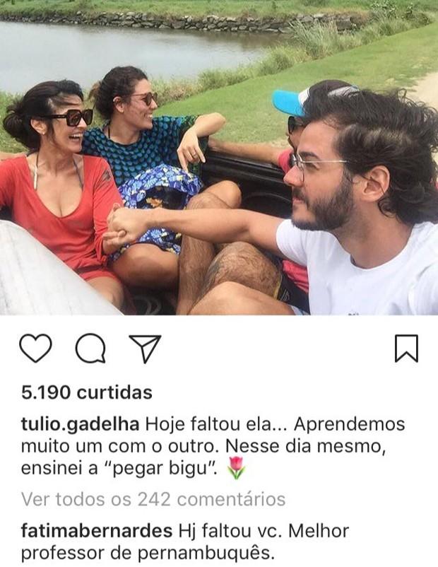 Tulio Gadelha e Fatima Bernardes trocam declarações na web (Foto: Reprodução/Instagram)
