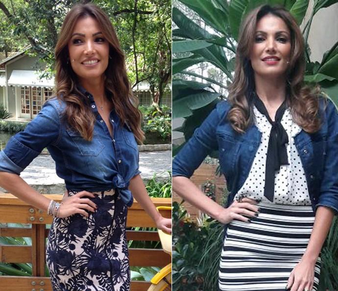 Antes e depois da blusa que virou jaqueta  (Foto: Carolina Morgado e Larissa Moggi/Gshow)