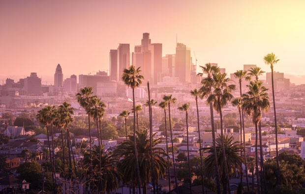 Beautiful sunset of Los Angeles downtown skyline and palm trees in foreground (Foto: Getty Images/iStockphoto)