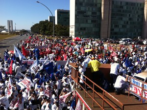 Servidores de universidades federais fazem marcha na Esplanada (Foto: G1)