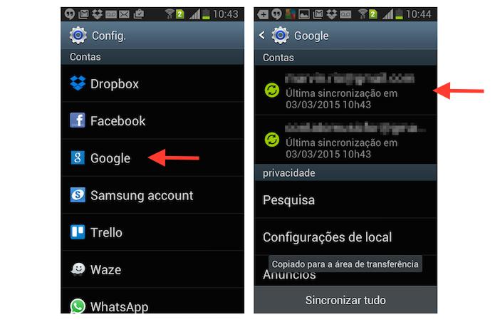 Acessando as configurações de uma conta do Google vinculada a um dispositivo Android (Foto: Reprodução/Marvin Costa)