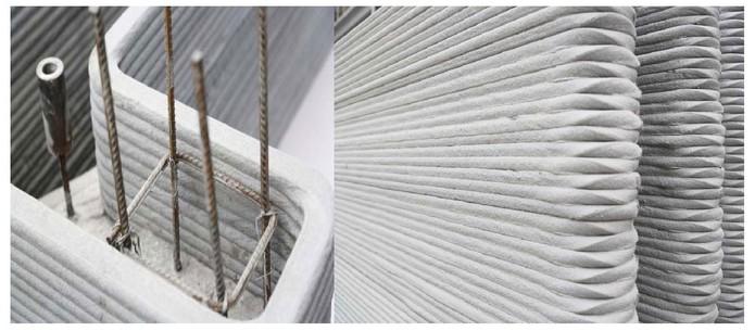 Ligas e reforços em aço prometem uma estrutura segura no edifício impresso em 3D (Foto: Divulgação/WinSun)