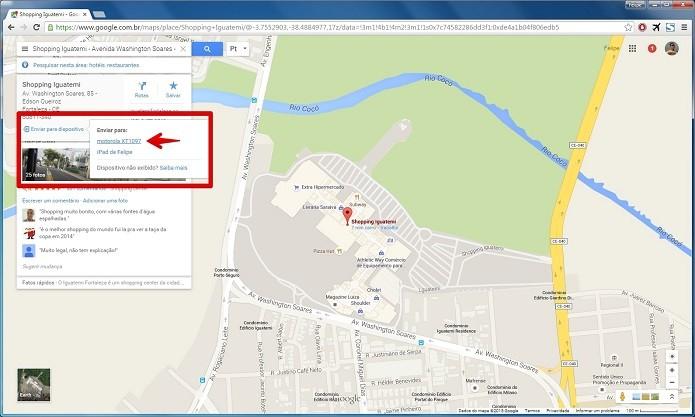 Enviando o local pesquisado para o smartphone com Android (Foto: Felipe Alencar/TechTudo)