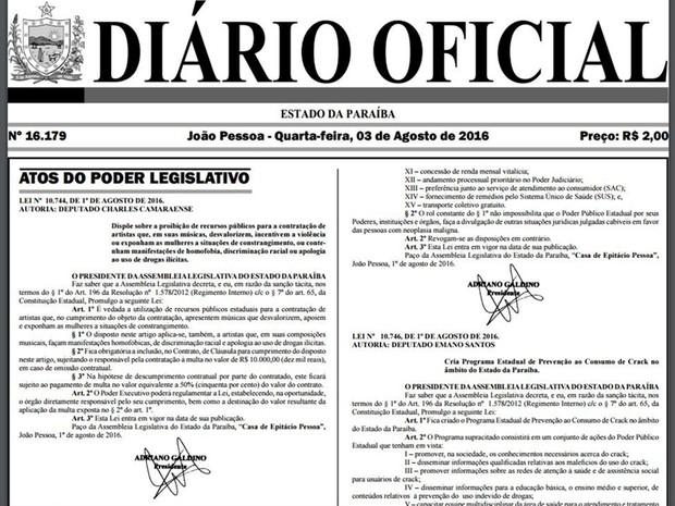 Lei foi publicada no Diário Oficial da Paraíba do dia 3 de agosto de 2016 (Foto: Reprodução/Diário Oficial da Paraíba)