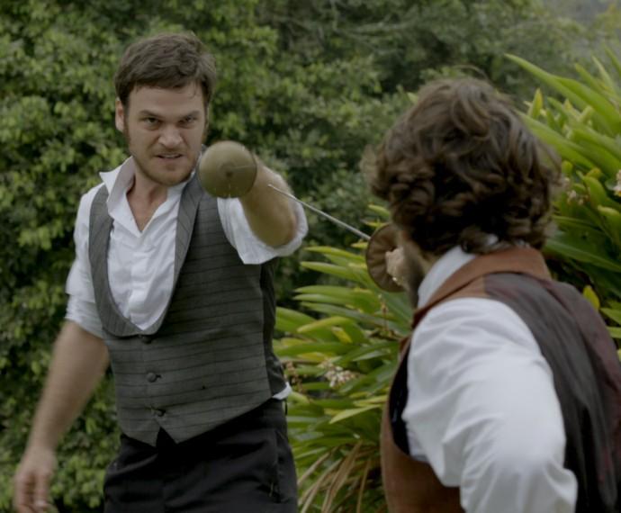 Pedro e Roberto aceitam o desafio... (Foto: TV Globo)