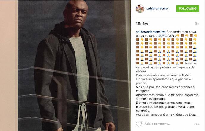 Anderson Silva, Instagram, volta, brasil