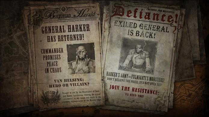 O jogador poderá conferir as diferentes versões da guerra dadas pela imprensa de Borgovia enquanto os cenários são carregados (Foto: Reprodução/Daniel Ribeiro)