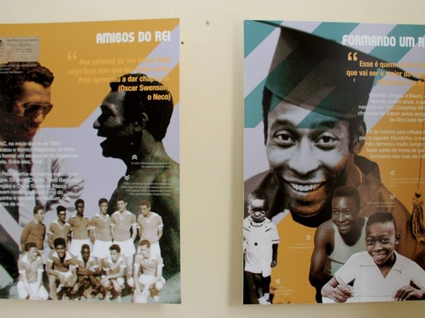 Imagens da exposição mostram o jovem Pelé enquanto vivia em Bauru.  (Foto: Divulgação)