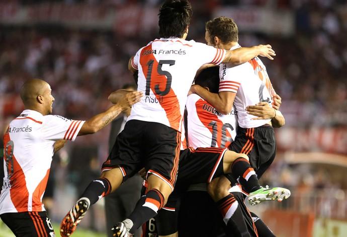 Comemoração do River Plate contra o Atletico Nacional (Foto: Agência AP )