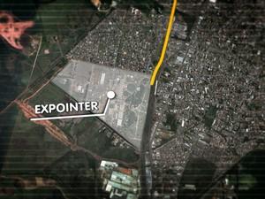 Saiba como chegar à Expointer, em Esteio, RS (Foto: Editoria de Arte/RBS TV)