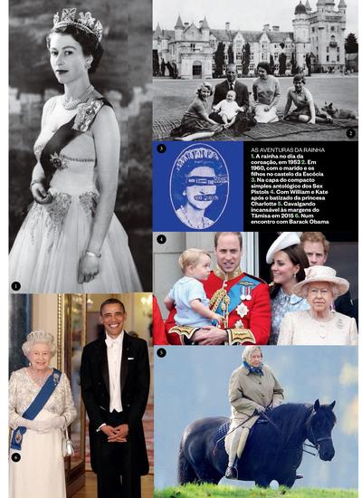 Momentos desses 90 anos: 1. Elizabeht coroada em 1953; 2. Em 1960 com os maridos e os filhos nos jardins do castelo de Balmoral, na Escócia; 3. Na capa do compacto simples antológico dos Sex Pistols; 4. Com Kate, William e o neto George na parada Trooping (Foto: Reprodução)