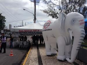 Protesto dos policiais federais acontece em frente à sede da superintendência, em Natal (Foto: Divulgação/Sindef)