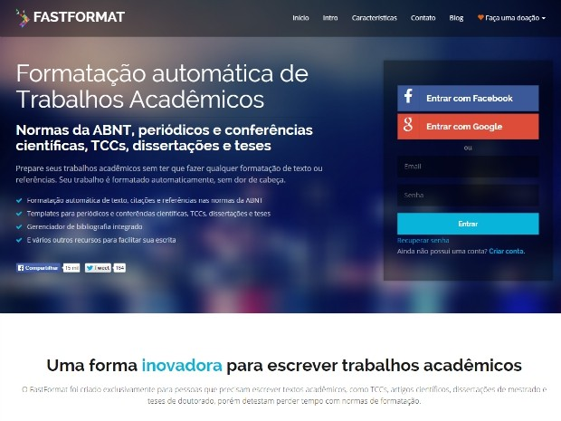 Fast Format edita textos automaticamente no formato da ABNT, congressos e publicações acadêmicas (Foto: Reprodução)