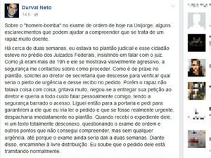 Juiz federal relatou em post no Facebook que atendeu rapaz há duas semanas (Foto: Reprodução / Facebook)