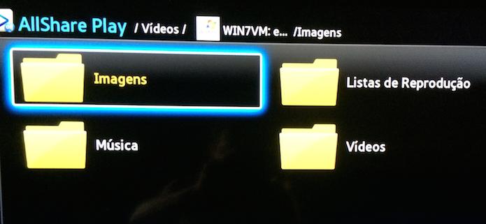 Pastas do computador sendo acessadas na TV via DLNA (Foto: Reprodução/Edivaldo Brito)