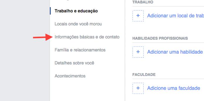 Acessando a página de edição de informações básicas do Facebook (Foto: Reprodução/Mavin Costa)