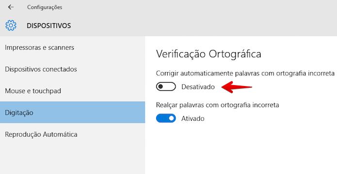 Desativando corretor do Windows 10 (Foto: Reprodução/Helito Bijora)