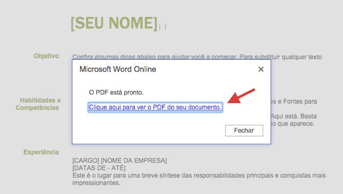 Baixando o arquivo PDF gerado no Microsoft Word Online para o computador (Foto: Reprodução/Marvin Costa)