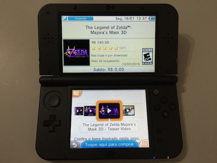 The Legend of Zelda: Majoras Mask 3D: use a ferramenta de busca para baixar o jogo no eShop nacional (Foto: Reprodução/Victor Teixeira)