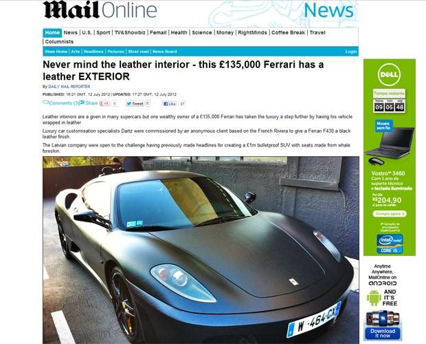 ferrari em couro (Foto: Reprodução/Daily Mail)