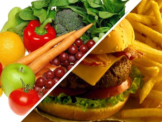 MONTAGEM - EU ATLETA -  frutas legumes e sanduíche (Foto: Agência Getty Images)