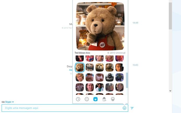 O ursinho Ted em sua versão romântica no moji para Skype (Foto: Reprodução/Barbara Mannara)