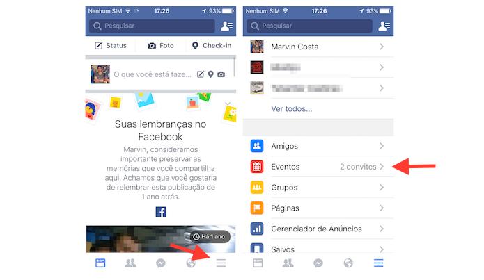 Acessando a página de eventos do Facebook pelo iPhone (Foto: Reprodução/Marvin Costa)