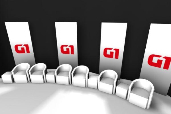 Cenário do debate realizado exclusivamente para o G1 Rio Grande do Sul (Foto: Reprodução/ RBS TV)