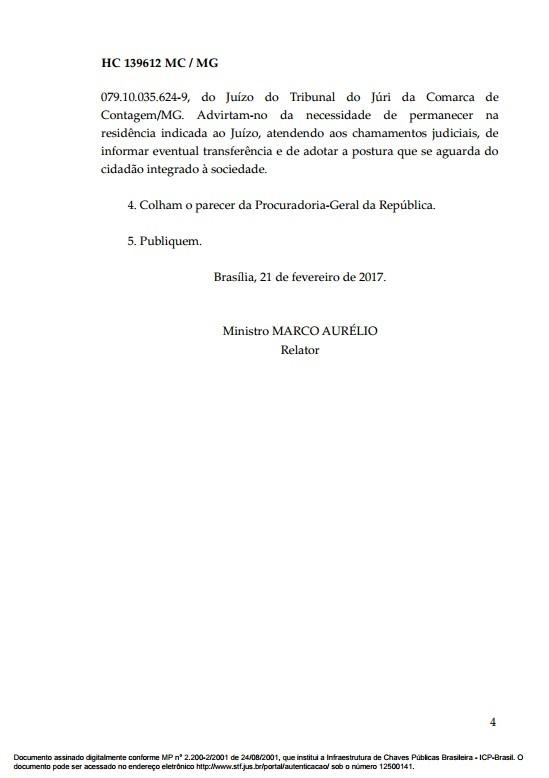 Documento Habeas Corpus goleiro Bruno 4 (Foto: Reprodução)
