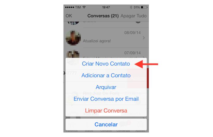 Adicionando o contato do WhatsApp a agenda do iOS (Foto: Reprodução/Marvin Costa)